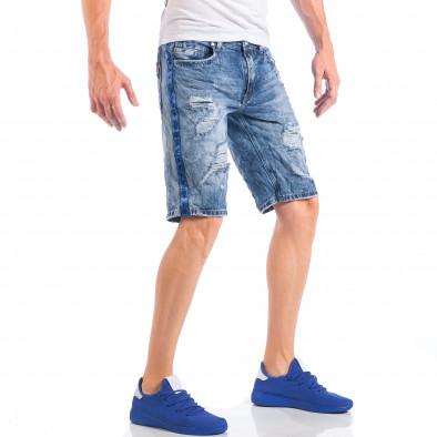 Мъжки сини къси дънки с кантове на звезди и скъсвания it050618-22 4