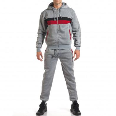 Мъжки сив спортен комплект с червена и черна лента it160916-66 2