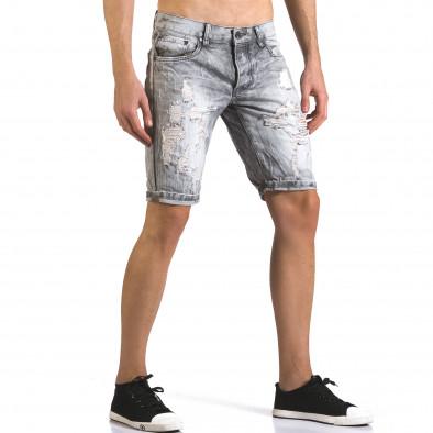 Мъжки светло сиви къси дънки с големи скъсвания it110316-68 4