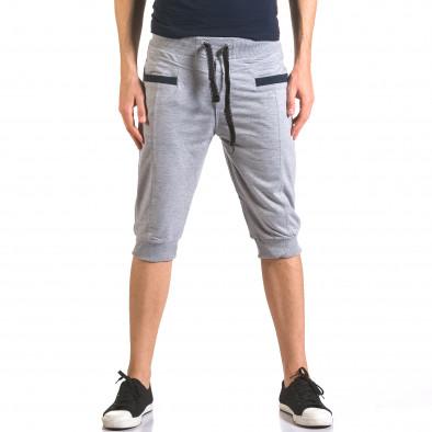 Мъжки сиви къси потури с контрастни джобове ca050416-34 2