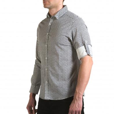 Мъжка бяла риза със синя фигурална шарка il170216-100 4
