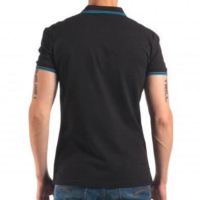 Мъжка черна тениска с яка със син и бял кант it150616-34 3