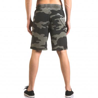 Мъжки къси панталони тип шорти зелен камуфлаж ca050416-46 3