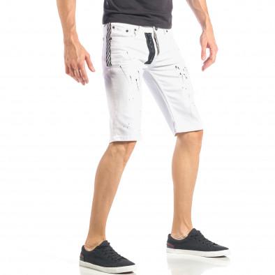 Бели мъжки къси дънки с черен цип и пръски it040518-80 4