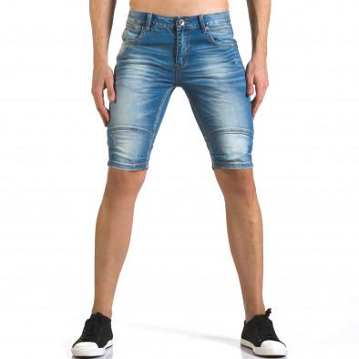 Мъжки светло сини къси дънки с допълнителни шевове it110316-62 2