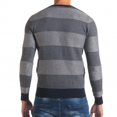 Мъжки синьо-сив пуловер с фини райета it170816-2 3