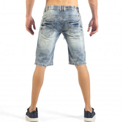 Мъжки сини къси дънки с цветни петна it260318-112 3
