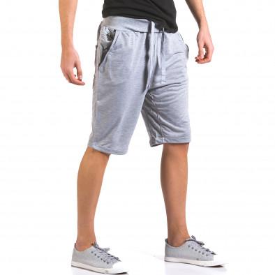 Мъжки сиви шорти с кожени детайли it160316-21 4