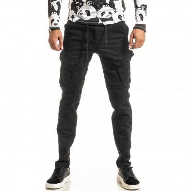 Мъжки черен Cargo панталон с прави крачоли tr300920-6 2