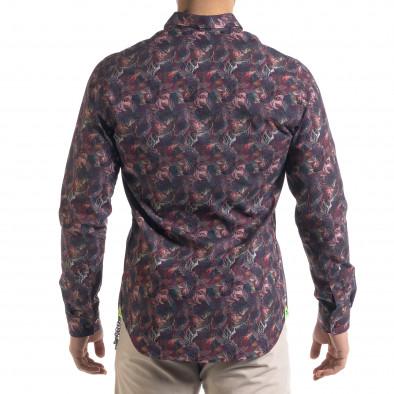 Slim fit мъжка риза десен в бордо tr110320-100 3