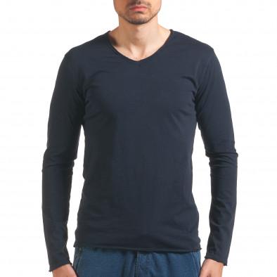 Мъжка синя блуза с дълъг ръкав it260416-52 2