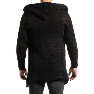 Структурирана черна жилетка реглан ръкав tr231220-14 4