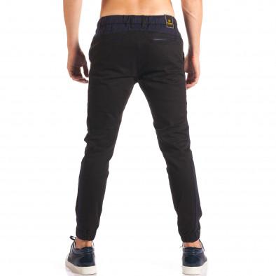 Мъжки черен спортен панталон със сини ленти  it150816-17 3