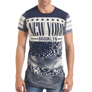 Мъжка синя тениска удължена с надпис New York Just Relax 4