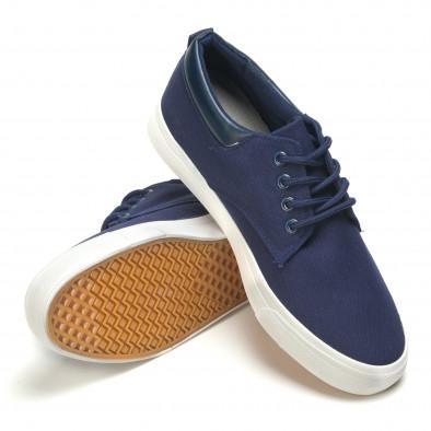 Мъжки спортни обувки тип кецове в синьо с бяла подметка Garago 5