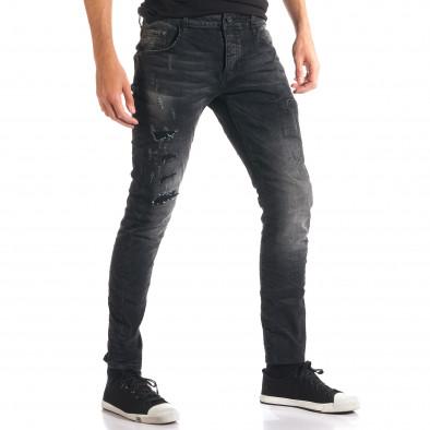 Мъжки тъмно сиви дънки с декоративни кръпки ca280916-2 4