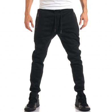 Мъжко черно долнище с ципове на джобовете it160916-26 2