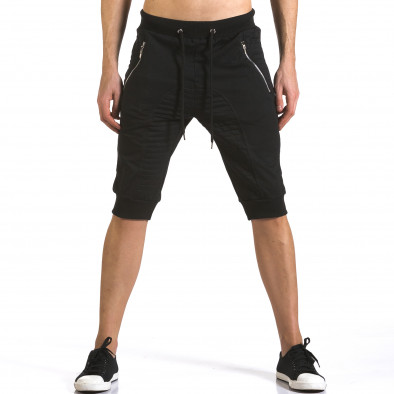 Мъжки черни къси потури с ципове на джобовете it110316-86 2