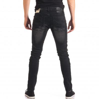 Мъжки черни дънки със скъсвания и допълнителни шевове it150816-35 3