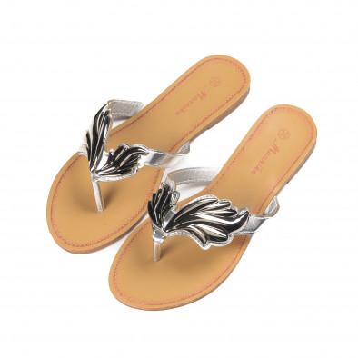 Дамски чехли с метална сребриста декорация it010618-16 3