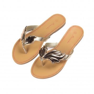 Дамски чехли с метална златиста декорация it010618-17 3