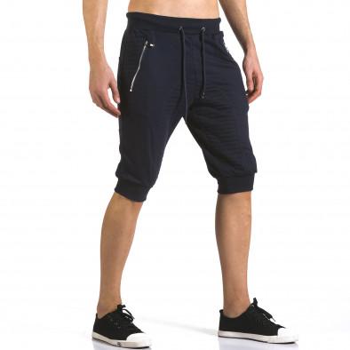 Мъжки сини къси потури с ципове на джобовете it110316-85 4
