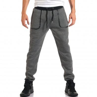 Мъжко светло сиво долнище с черен контур на джобвете it160916-35 2