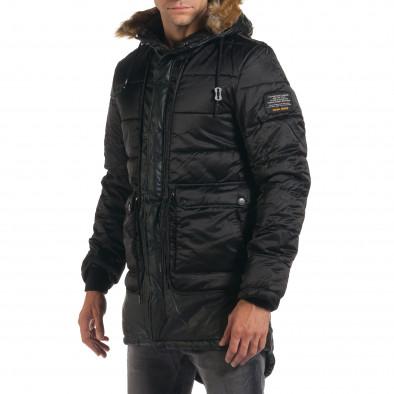 Мъжко дълго зимно яке в черно с връзки на кръста it190616-11 4