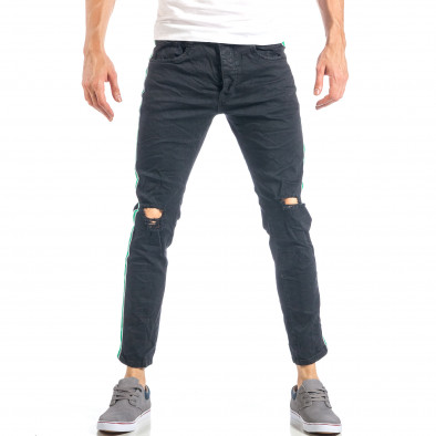 Мъжки черни скъсани дънки с бяло-зелени кантове it040518-7 3