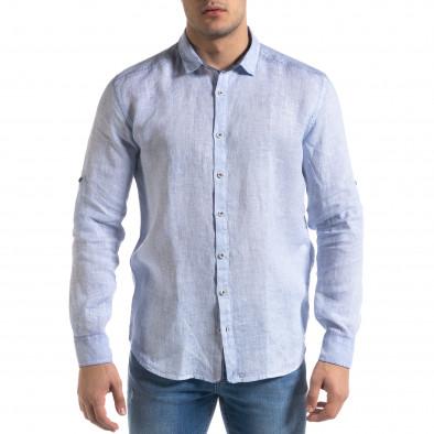 Ленена мъжка риза в светло синьо tr110320-92 3