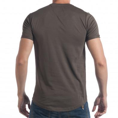 Мъжка тениска зелен камуфлаж с надпис tsf090617-25 3