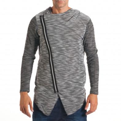 Мъжки светло сив суичър с асиметрична кройка it240816-1 2