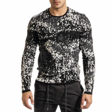 Мъжки черно-бял пуловер пикселирана шарка it301020-17 3