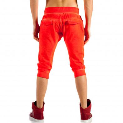 Мъжки червени къси панталони с изтрит ефект ca100514-13 2