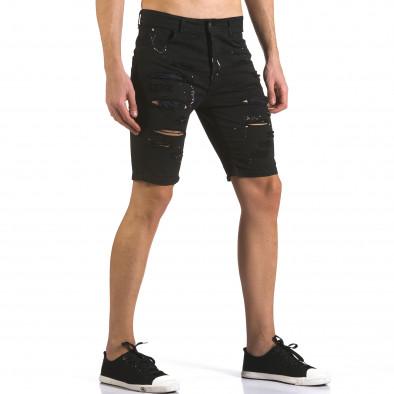 Мъжки черни къси дънки с пръски боя it110316-59 4
