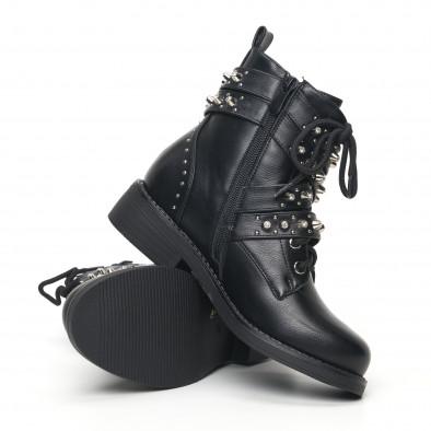 Дамски черни боти с декорирани каишки it051219-19 4
