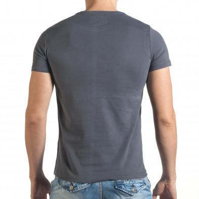 Сива мъжка тениска с голям череп и надпис il140416-25 3