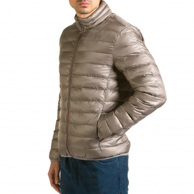 Мъжко бежово-сиво яке със синя подплата it110915-3 4