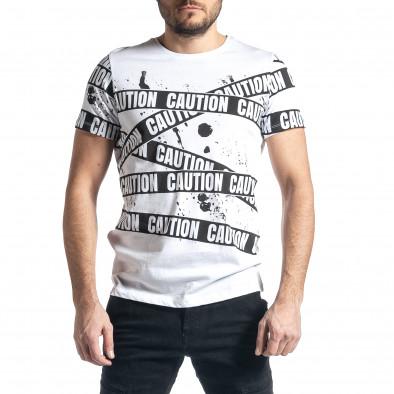 Мъжка тениска Caution в бяло tr010221-12 2