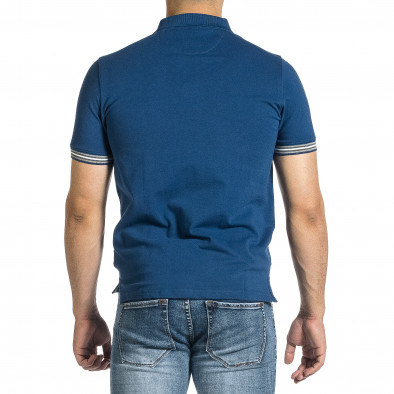Мъжка синя тениска с яка и раирано бие it150521-17 3