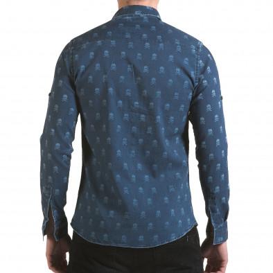 Мъжка риза син деним с черепи il170216-129 3