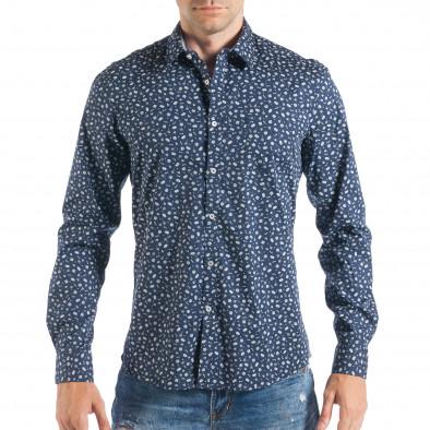 Мъжка тъмносиня риза с дребен Toys десен  it050618-11 2