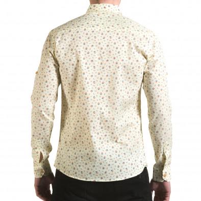 Мъжка жълта риза с малки цветя il170216-119 3