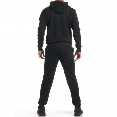Мъжки черен спортен комплект с 2 ленти отпред it160916-84 3