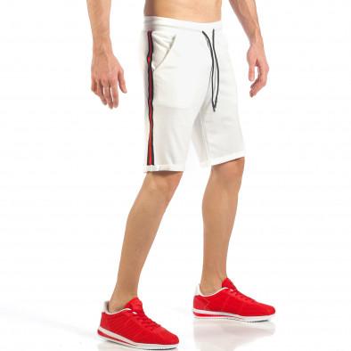Мъжки бели шорти с черно-червен кант it260318-147 3