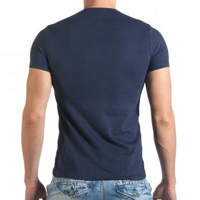 Синя мъжка тениска с шарен принт и надписи отпред il140416-20 3