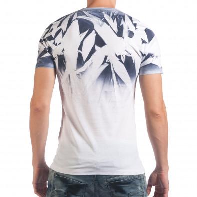 Мъжка бяла тениска с ефектен принт il060616-36 3