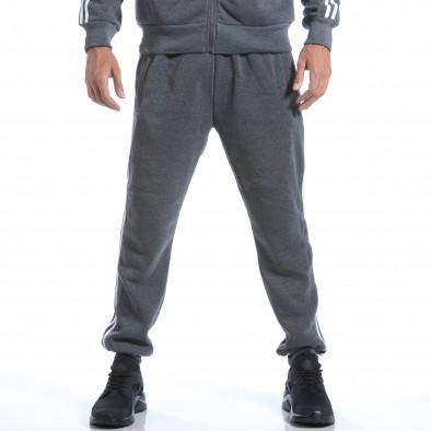 Мъжки тъмно сив спортен комплект с бели ленти it160817-73 5