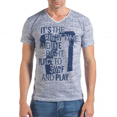 Мъжка бяло-синя тениска с надпис и номер 27 il060616-57 2