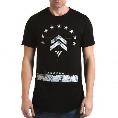 Мъжка черна издължена тениска с принт звезди Man 4